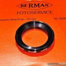 Cámara de fotos: INVERSOR OBJETIVO MACRO PARA ROSCA 55MM. (MARCA BERMAN). Lote 103596419