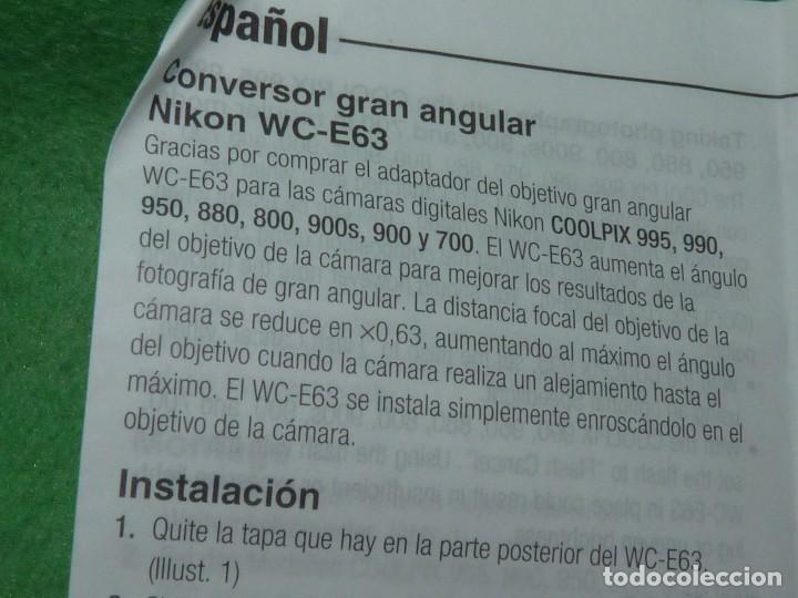 Cámara de fotos: Divertido objetivo Nikon WC-E63 convertidor Wideangle gran angular Made in Japan - Foto 7 - 110516711