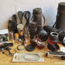 Cámara de fotos: SUPER LOTE 5 OBJETIVOS PANORAMICOS + OTRAS LENTES + CABLES Y COMPLEMENTOS CAMARAS VARIAS. Lote 121986803