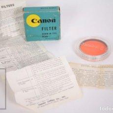 Cámara de fotos: FILTRO PARA CÁMARA FOTOGRÁFICA CANON - NARANJA 01 / 55 MM - FOLLETO, CAJA Y CÁPSULA ORIGINAL. Lote 152439942