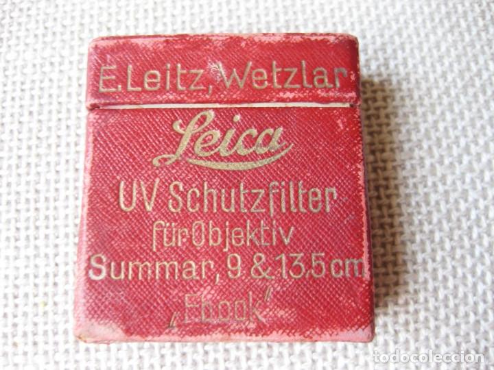 Cámara de fotos: ANTIGUA CAJA DE FILTRO UV SCHUTZFILTER LEICA 9 & 13,5 MM - E. LEITZ, WETZLAR - FBOOK - Foto 4 - 154946194