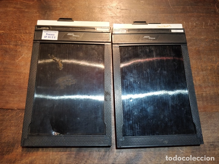 Cámara de fotos: 4 placas con dos fundas Agfachrome R 100 S - AP 44/E 6 - 13x18cm - Foto 2 - 177093060