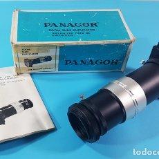 Fotocamere: PANAGOR ZOOM SLIDE DUPLICATOR FOR 35MM SLR CAMERAS, DUPLICADOS DIAPOSITIVAS, CON CAJA Y MANUAL. Lote 177939007