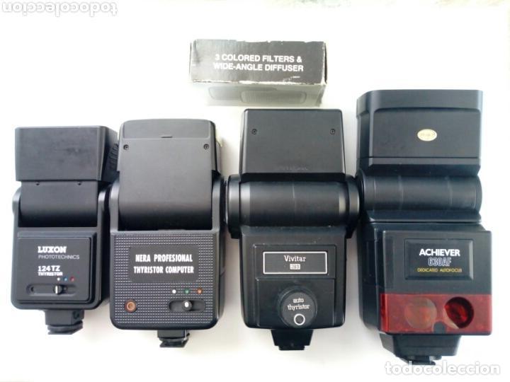 LOTE 4 FLASHES PARA CÁMARAS ANALÓGICAS - FLASH - RÉFLEX - FILM CAMERA - VINTAGE - AÑOS 80/90 (Cámaras Fotográficas Antiguas - Objetivos y Complementos )