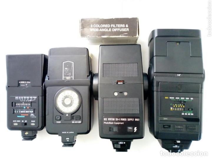 Cámara de fotos: Lote 4 FLASHES para cámaras analógicas - Flash - Réflex - Film Camera - Vintage - Años 80/90 - Foto 2 - 178592292