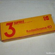 Cámara de fotos: CAJA KODAK DE 3 PELICULAS KODACHROME 40 - SUPER 8.PRECINTADO.. Lote 184897137