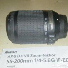 Cámara de fotos: ZOOM NIKON AF-S DX VR F/4-5.6 IF-ED -NIKKOR 55-200MM. Lote 195529908