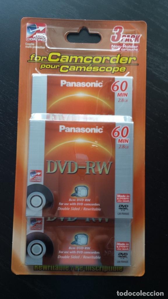 PACK DE 3 DVD REWRITABLE. 60 MIN. 2,8 GB. PANASONIC PARA CAMCORDER HECHO EN JAPÓ NUEVO, PRECINTADO (Cámaras Fotográficas Antiguas - Objetivos y Complementos )