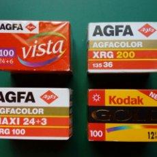 Cámara de fotos: 4 CARRETES PELÍCULA COLOR CADUCADA - AGFACOLOR XRG 200, KODAK GOLD 100, AGFA VISTA 100 - LOMOGRAPHY. Lote 210690362