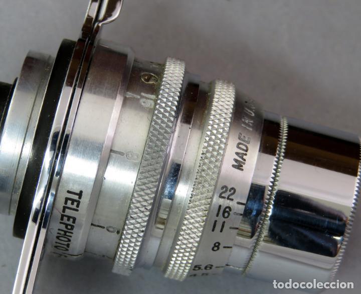 Cámara de fotos: Teleobjetivo de 38 mm F4 5 y lentes by Kodak Rochester Estados Unidos en su estuche original años 60 - Foto 6 - 222017516