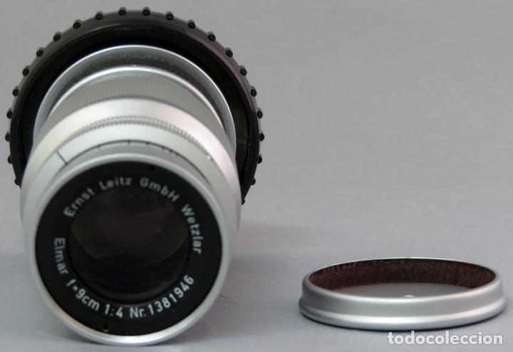 Cámara de fotos: Objetivo Ernst Leitz Wetzlar Elmar f 9 cm 1 4 para Leica Alemania con funda rígida - Foto 3 - 222027041