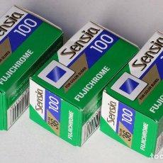 Fotocamere: 3 ROLLOS DE DIAPOSITIVAS FUJICHROME SENSIA 100 CADUCADAS 2008.05. Lote 227492465