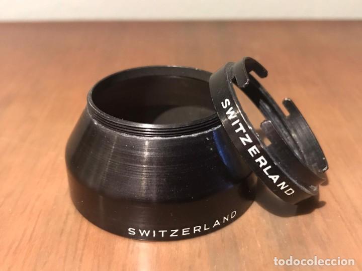 PARASOL DE METAL OMAG S3 SWITZERLAND Y ROSCA ADAPTADOR FILTRO 30 OMAG (Cámaras Fotográficas Antiguas - Objetivos y Complementos )