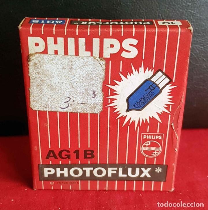 FLASH PHILIPS PHOTOFLUX AG1B, 10 UNIDADES CON CAJA ORIGINAL, NUEVOS (Cámaras Fotográficas Antiguas - Objetivos y Complementos )