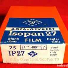 Cámara de fotos: AGFA ISOPAN 27, PLACAS ACETATO 6,5 X 9 CM. Lote 236594045