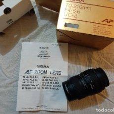 Fotocamere: OBJETIVO SIGMA.70-210 MM.CAMARA FOTOGRAFICA.ANTIGUO.CON INSTRUCCIONES.. Lote 238495435
