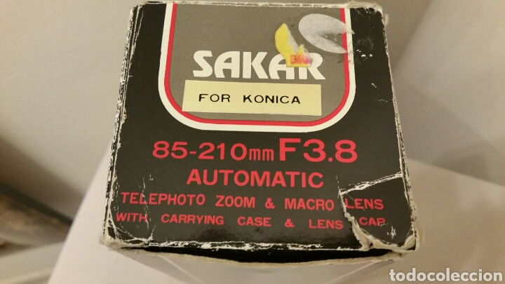 Cámara de fotos: Antiguo Teleobjetivo SAKAR para Cámara Reflex KÓNICA. Lens Japan. 85-210 mm. F3.8 Automatic • Macro. - Foto 10 - 244760005