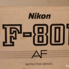 Cámara de fotos: INSTRUCIONES NIKON 801 F SEGUNDA MANO. Lote 254906570