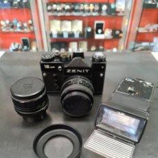 Cámara de fotos: ZENIT 12XP + OBJETIVOS Y FLASH. Lote 265514849