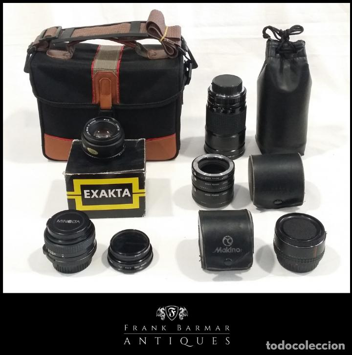 LOTE DE ACCESORIOS DE CÁMARAS FOTOGRÁFICAS MINOLTA, ASAHI PENTAX, EXAKTA, MAKINON, PENTA VISIÓN (Cámaras Fotográficas Antiguas - Objetivos y Complementos )