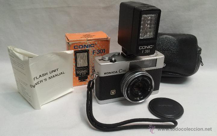 CAMARA DE FOTOS KONICA C 35 Y FLASH CONIC F 301 (Cámaras Fotográficas - Panorámicas y Compactas)
