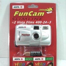 Cámara de fotos: CAMARA NUEVA ¡¡ AGFA FUNCAM + 2 CARRETES 35 MM + PILA -COMPACTA SLIMLINE FUN CAM FOTOGRAFICA FOTOS. Lote 147466756