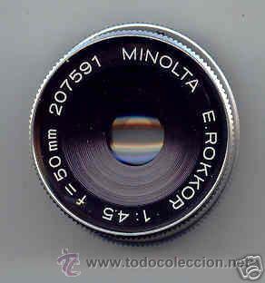 MINOLTA PARA AMPLIADORA ROKKOR, CROMADO, 1:4,5 F=50 MM. (Cámaras Fotográficas - Otras)