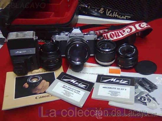 EQUIPO FOTOGRÁFICO ANTIGUO MUY COMPLETO CANON (Cámaras Fotográficas - Otras)