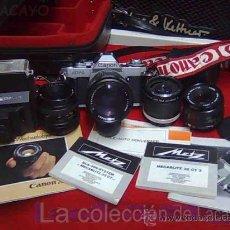 Cámara de fotos: EQUIPO FOTOGRÁFICO ANTIGUO MUY COMPLETO CANON. Lote 16796539