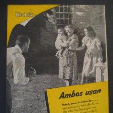 Cámara de fotos: ANTIGUA PUBLICIDAD ANUNCIO KODAK DE LOS AÑOS 50.. Lote 16847832