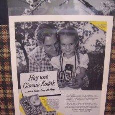 Cámara de fotos: PUBLICIDAD KODAK - AÑOS 50 - ORIGINAL - 38 X 28 -. Lote 19993178