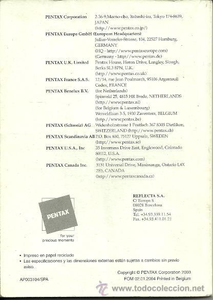 Cámara de fotos: MANUAL DE INSTRUCCIONES - CAMARA DIGITAL PENTAX OPTIO S - 2003 - Foto 2 - 26108987