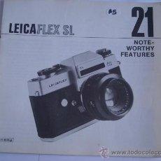 Cámara de fotos: LEITZ LITERATURA 21 NOTAS DE MANEJO LEICA PARA LEICAFLEX SL EN INGLES 16 PAGINAS COMPLETO. Lote 27938204