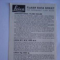 Cámara de fotos: LEITZ LITERATURA DATOS TECNICOS DE FLASH LEICA PARA M1 M2 M3 IIIG Y IG Y F SERIES. EN INGLES. Lote 27938275