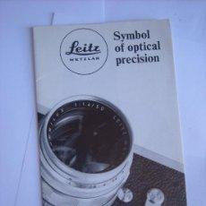Cámara de fotos: LEITZ LITERATURA, FOLLETO INFORMATIVO LEICA, EN INGLES, .. Lote 27938314