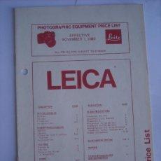 Cámara de fotos: LEITZ LITERATURA, LISTA PRECIOS LEICA NOVIEMBRE 1980 EXCELENTE ESTADO, COMPLETA 12 PAGINAS EN INGLES. Lote 27938354