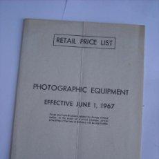 Cámara de fotos: LEITZ LITERATURA, LISTA DE PRECIOS LEICA AÑO 1967 EN INGLES, COMPLETA EN .. Lote 27938430