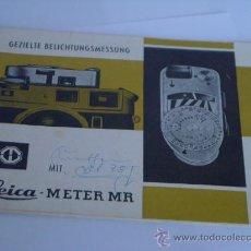 Cámara de fotos: LEITZ LITERATURA LEICA METER MR INSTRUCCIONES ORIGINALES EN ALEMAN AÑO 1971 22 PAGINAS COMPLETO. Lote 28692713