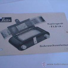 Cámara de fotos: LEITZ LITERATURA ACCESORIO DE COPIADO LIECA ELDIA AÑO 1956 EN ALEMAN COMPLETO 8 PAGINAS. Lote 28692754