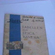 Cámara de fotos: LEITZ LITERATURA TABLA DE ENFOQUE Y PROFUNDIDAD DE CAMPO OPTICAS LEICA AÑO 1937 MUY RARO 36 PAGINAS. Lote 51553299
