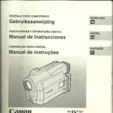 Cámara de fotos: MANUAL DE INSTRUCCIONES - VIDEO CAMERA CANON MV30/MV30I - HOLANDÉS, ESPAÑOL Y PORTUGUÉS - 2000. Lote 28780644