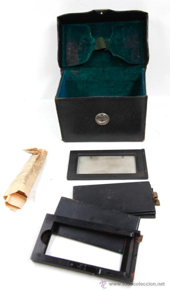 Cámara de fotos: Cámara Gaumont grand prix 1900. Para cristales 6x13 cm. Con placas y chasis, . - Foto 11 - 32565296