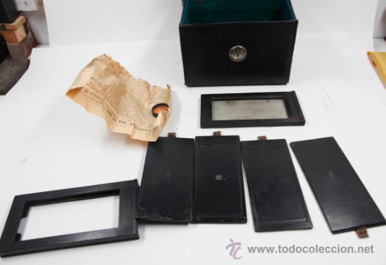 Cámara de fotos: Cámara Gaumont grand prix 1900. Para cristales 6x13 cm. Con placas y chasis, . - Foto 10 - 32565296
