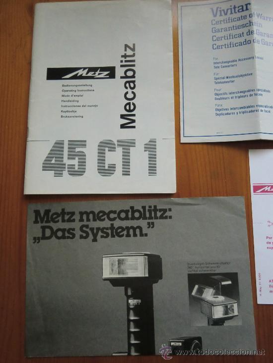 Cámara de fotos: Lote de 8 catálogos máquinas de fotografía: VIVITAR y METZ MECABLITZ. Años 70 - Foto 4 - 33213419