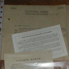 Cámara de fotos: KODAK, CARTA COMERCIAL, CARTON DE SUSCRIPCION Y OCTAVILLA DE CONCURSO 1931.. Lote 33223610