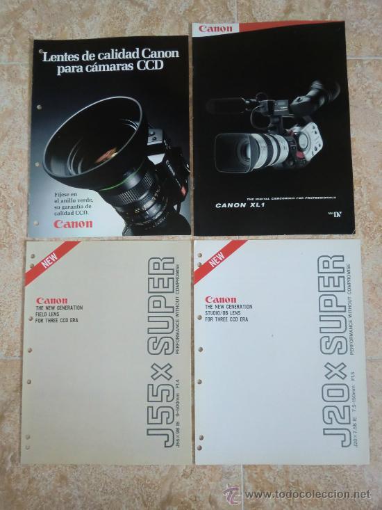LOTE DE 4 CATÁLOGOS CANON: LENTES, VIDEOCÁMARA, CÁMARAS... COMO NUEVOS (Cámaras Fotográficas - Catálogos, Manuales y Publicidad)