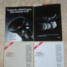 Cámara de fotos: LOTE DE 4 CATÁLOGOS CANON: LENTES, VIDEOCÁMARA, CÁMARAS... COMO NUEVOS. Lote 34040748
