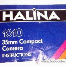 Cámara de fotos: LIBRO DE INSTRUCCIONES DE HALINA 1610. Lote 34388109
