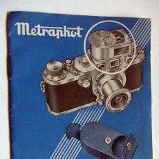 Cámara de fotos: LIBRO DE INSTRUCCIONES DE METRAPHOT. Lote 34388166