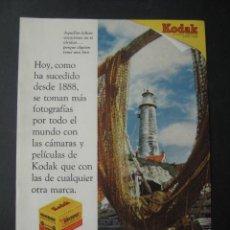 Cámara de fotos: CARRETE FOTOGRAFIA KODAK. ANTIGUA PUBLICIDAD ANUNCIO DE REVISTA DE LOS AÑOS 50. Lote 39436625